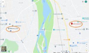村上小学校と坂城中学校の地図です